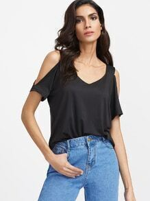 Black Open Shoulder T-shirt