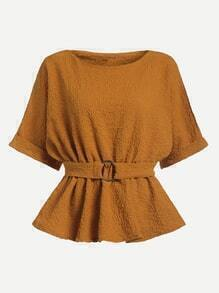 Khaki Dolman Sleeve Cuffed Blouse With Belt