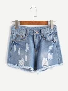 Shorts deshilachados con rotura en denim - azul claro