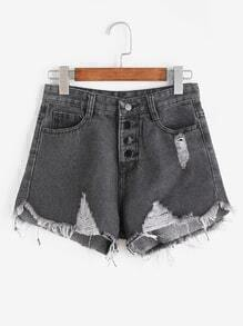 Black Single Breasted Ripped Raw Hem Denim Shorts