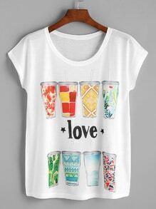 White Graphic Print Dolman Sleeve T-shirt