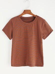 Khaki Pinstriped Casual T-shirt