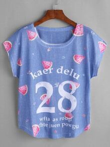 Watermelon And Letter Print Dolman Sleeve T-shirt