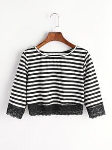 Black And White Stripe Contrast Lace T-shirt