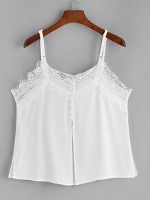 White Contrast Eyelash Lace Split Back Cami Top