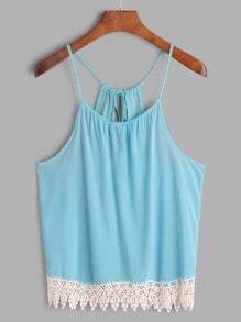 Blue Keyhole Back Contrast Lace Hem Cami Top