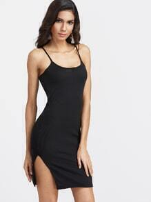 Black Slit Side Ribbed Sheath Slip Dress