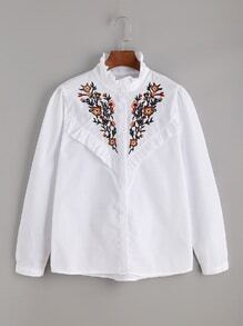 White Ruffle Trim Embroidered Shirt