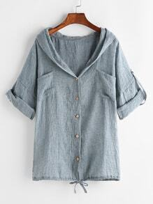 Blue Drawstring Hem Cuffed Hooded Blouse