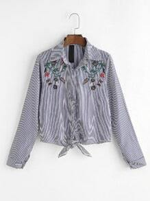 Black Vertical Striped Knot Front Embroidered Blouse