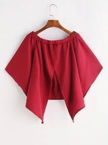 Red Slit Back Kimono Sleeve Off The Shoulder Top