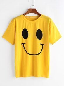 Yellow Smiley Face Print T-shirt