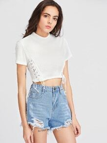 White Lace Up Side Ribbed Crop T-shirt