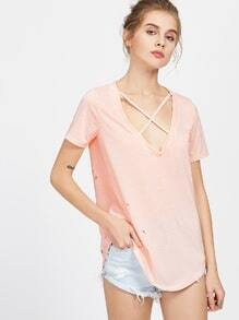Pink Crisscross V Neck Curved Distressed T-shirt