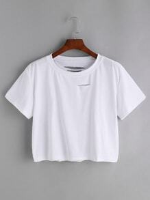 White Ripped Crop T-shirt