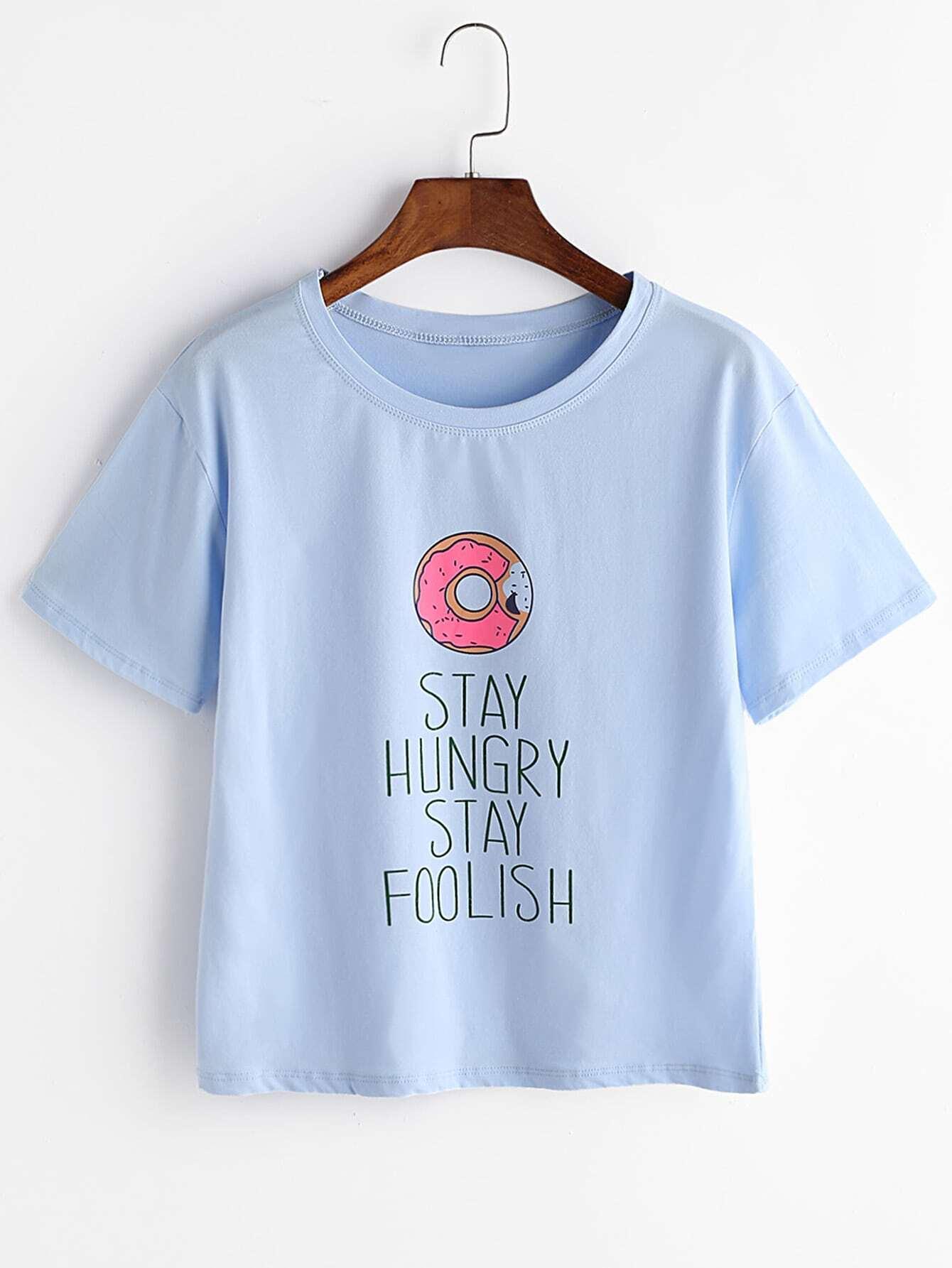 imprimer donut t shirt bleu french romwe. Black Bedroom Furniture Sets. Home Design Ideas