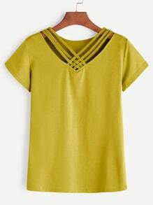 Yellow Lattice V Neck T-shirt