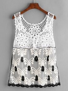 White Crochet Insert Embroidered Mesh Tank Top