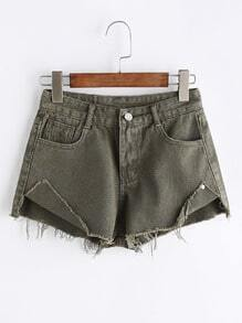 Green Slit Side Raw Hem High Low Denim Shorts