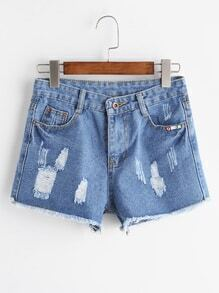 Blue Ripped Raw Hem Denim Shorts