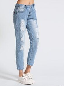 Blue Bleach Wash Ripped Cropped Jeans