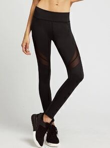 Black Sheer Mesh Insert Leggings