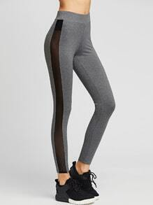 Grey Sheer Mesh Insert Leggings