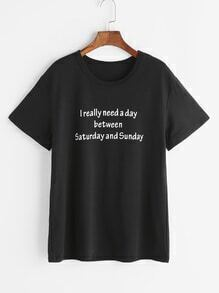 Black Slogan Print T-shirt