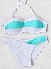 Contrast Color Bandeau Bikini Set