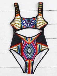 Tribal Print Cutout Detail One-Piece Swimwear