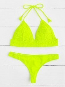 Neon Yellow Crinkle Design Triangle Bikini Set