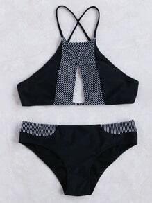 Black Striped Detail Keyhole Bikini Set