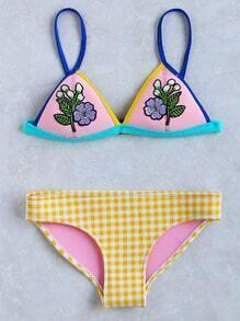 Flower Applique Plaid Triangle Bikini Set