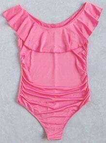 Bañador con detalle de volantes una pieza - rosa