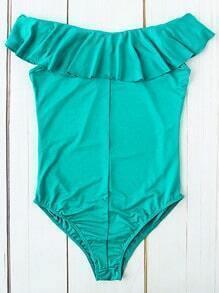 Turquoise Ruffle Detail One-Piece Swimwear