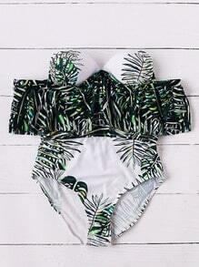 Leaf Print Off The Shoulder Bustier One-Piece Swimwear