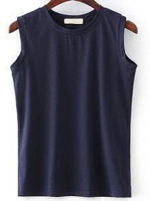 Navy Round Neck Sleeveless T-Shirt