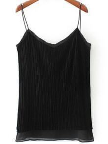 Black Pleated Velvet Cami Top