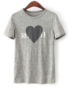 Heather Grey Heart Print T-Shirt