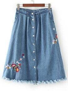 Blue Flower Embroided Raw Hem A Line Denim Skirt