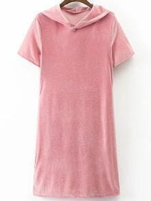 Pink Short Sleeve Hooded Velvet Dress