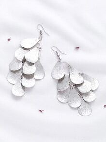 Silver Water Drop Shaped Earrings