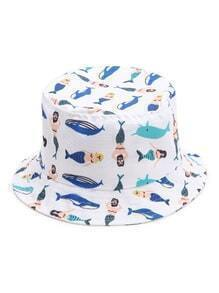 White Print Wide Brim Hat