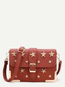 Brown Star Flap Crossbody Bag
