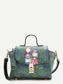 Green Print PU Shoulder Bag With Handle
