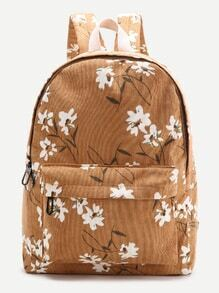 Brown Flower Print Canvas Backpack