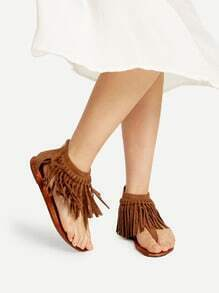 Brown Fringe Design Thong Sandals