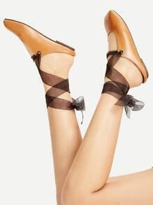 Brown Lace Up Ballet Flats
