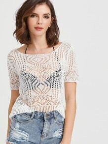 White Hollow Out Crochet Top