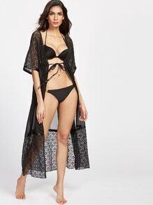 Black Sheer Floral Lace Drawstring Kimono